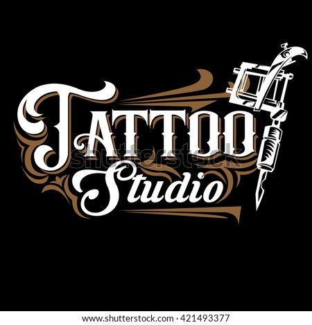 Vector tattoo studio logo templates on black background. Cool retro ...