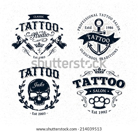 Vector tattoo studio logo templates on white background. Cool retro styled vector emblems. - stock vector