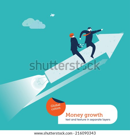 Vector team with arrow and bulb. Vector illustration Eps10 file. Global colors. Text and Texture in separate layers. - stock vector