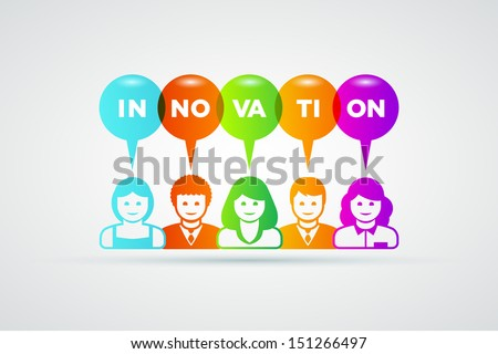 Vector teamwork and innovation concept illustration.  - stock vector