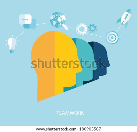 Vector teamwork and start up concepts in flat style. - stock vector