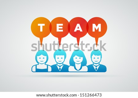 Vector teamwork and team concept illustration.  - stock vector