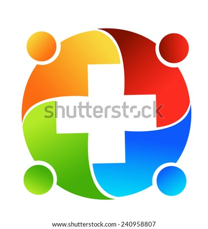 Vector teamwork concept of community,business,medical ,unity,social networking,hug and friendship workers logo icon image template - stock vector