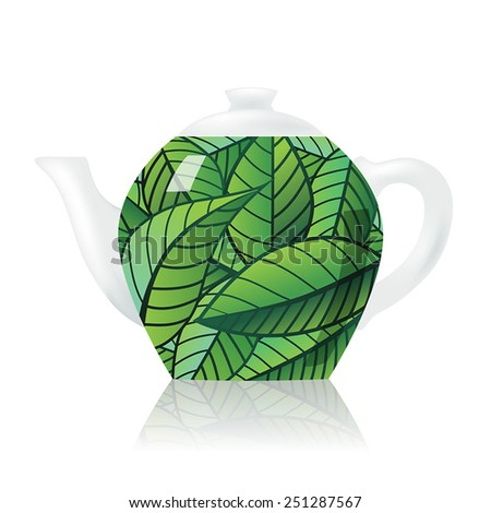 Vector Teapot covered with green tea leaves - stock vector