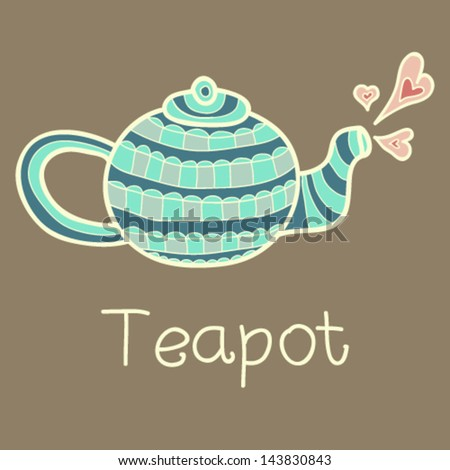 vector teapot, vintage illustration, icon,card for scrapbooking - stock vector