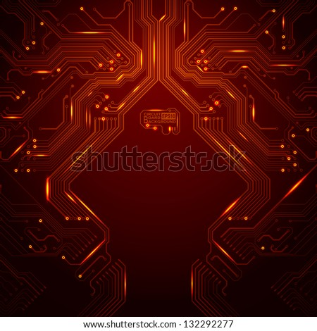 Vector technology background with elements of a circuit board - stock vector