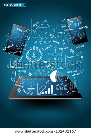 Vector technology business, with Business success concept idea drawing on computer tablet PC With mobile phones. - stock vector