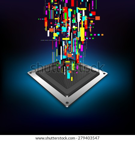 vector technology computer microchip, digital data process, cpu generation - stock vector