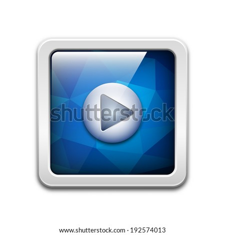 Vector technology icon with play button and abstract polygonal background - stock vector