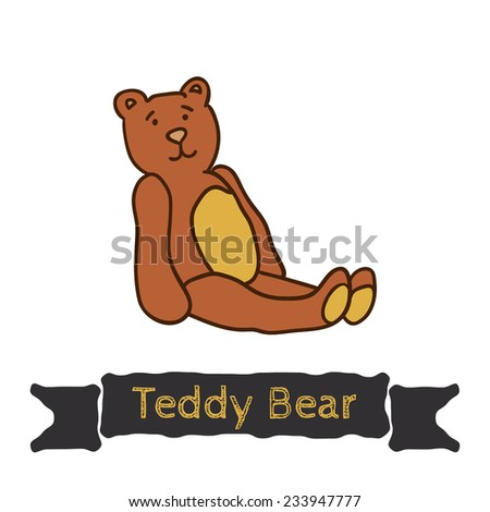 vector teddy bear sitting, soft toy, decoration for children's themes - stock vector