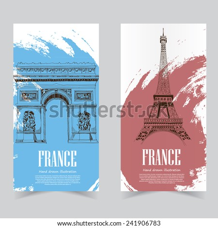 Vector template banners. Hand drawn illustrations of France. abstract background - stock vector