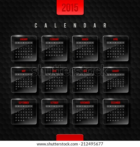 Vector template calendar 2015 - glass frames with month on a black hexagons background - stock vector