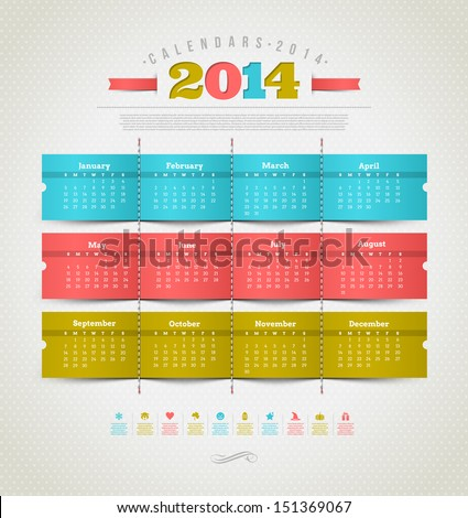 Vector template design - calendar of 2014 with holidays icons - stock vector