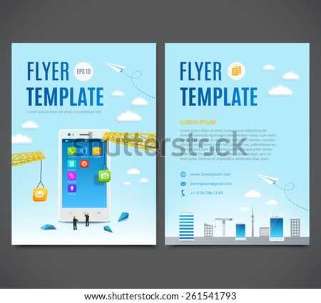 Vector template design, flyer, brochure, cover, page. Construction smartphone, software and mobile application development - stock vector