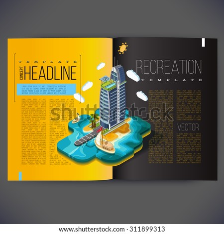 Vector template design for the pages of the magazine, brochure, page, leaflet, with 3d isometric buildings hotel on the island, all text separately. - stock vector