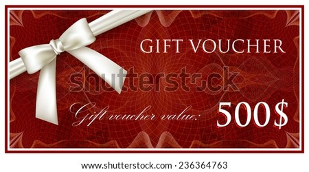 vector template design of red gift voucher or certificate with guilloche pattern (watermarks) and white bow and ribbon - stock vector
