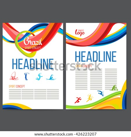 Vector template design strips of colored waves.Concept sport brochure,Web sites,page and leaflet, signs Brazil  and text separately. Sport concept banners with symbols of sports competitions - stock vector