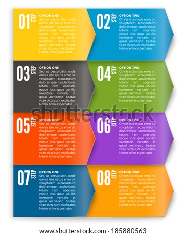 Vector template for interface or infographic based to squares and arrows - stock vector