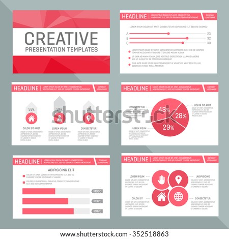 Vector template for multipurpose presentation slides with graphs and charts. - stock vector