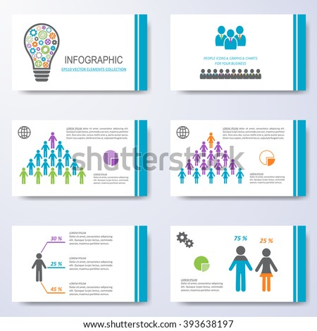 Vector template for presentation slides with demographic icons - stock vector
