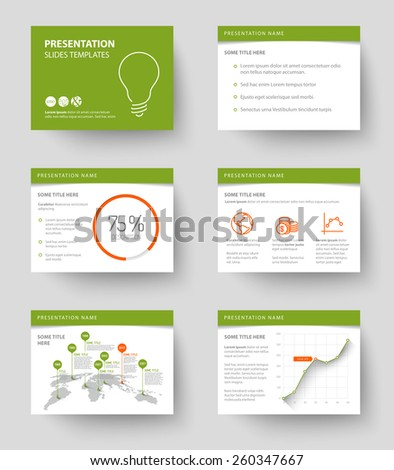 Vector Template for presentation slides with graphs and charts - green and red version - stock vector