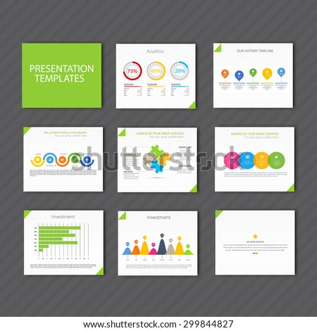 Vector Template for presentation slides with graphs and charts - green version - stock vector