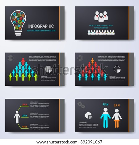 Vector template for presentation slides with infographic icons - stock vector