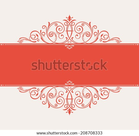 vector template for text. vintage frame decorated with antique ornaments red - stock vector