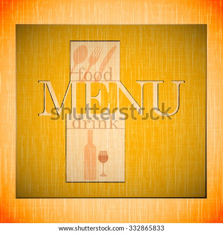 Vector template for the cover page and the restaurant menu with a ribbon for inscription on the background textures or warm colors with a fork, spoon and knife. - stock vector