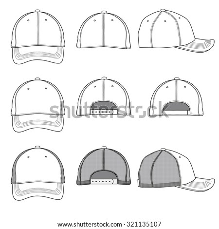 Vector template illustrations of a ball cap. - stock vector