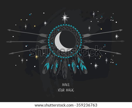 Vector template in bohemian style. Dream catcher,moon and arrows. Invitation card, book or cd cover, t-shirt design - stock vector