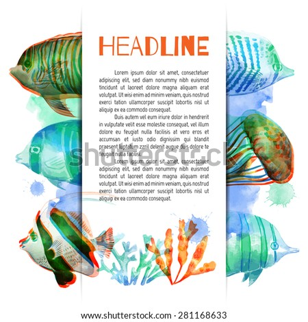 Vector template. Marine fish. Vector illustration. Watercolor background. Angelfish. Tropical fish. Neon fish. - stock vector