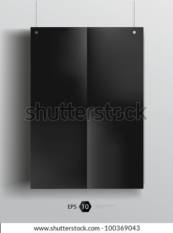 Vector template of a paper sheet (poster, picture frame) - stock vector