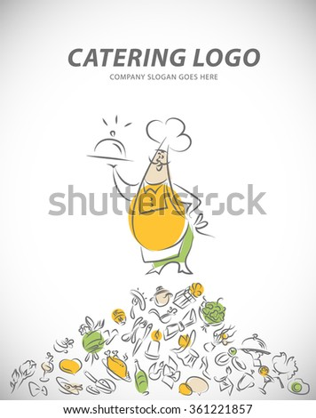 Vector template of catering company logo. Restaurant food elements collection. Catering, outdoor events and restaurant service insignia, food icons. Hand drawn cupcake, chair, sausage, photo elements. - stock vector