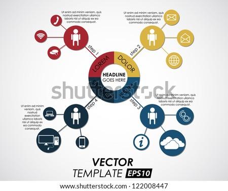 vector template of 4 pieces / cloud computing - stock vector