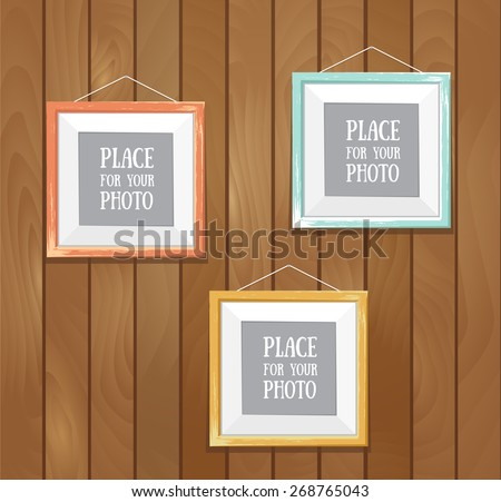 Vector template of square frame with poster, placed in interior. Mock-up for your posters or photos. - stock vector