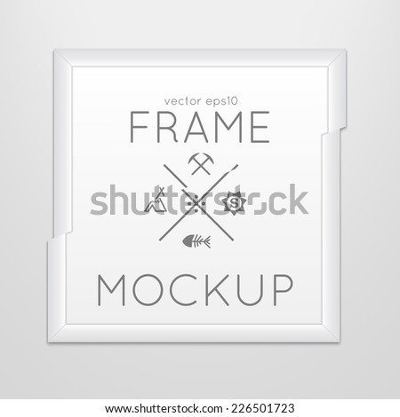 Vector template of square slashed frame with poster, placed in interior. Mockup for your posters or photos. Light style. - stock vector