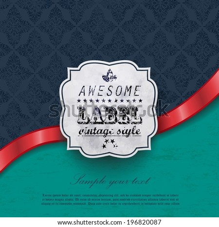 vector template old background with red ribbon and label design for restaurant menu, cafe banner - stock vector