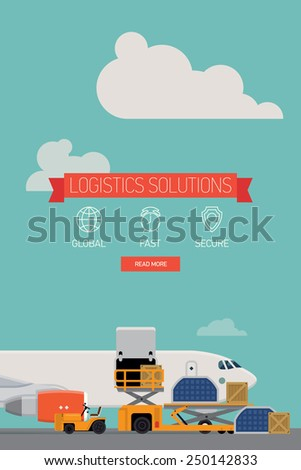 Vector template on one page website logistics solutions and delivery company featuring freight cargo jet airplane loading, airport service vehicles and various containers, flat design - stock vector