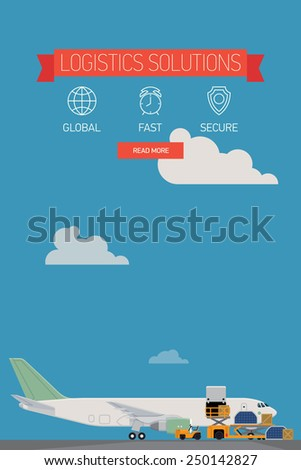 Vector template on one page website logistics solutions and shipping company featuring freight cargo jet airplane loading, airport service vehicles and various containers, flat design - stock vector
