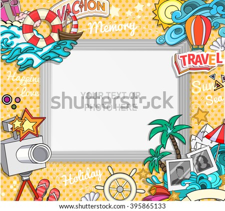 Vector template photo frame or card for your picture. Insert your picture or text. Scrapbook concept. Design photo frame. Decorative template for baby, family or memories. Vector illustration. - stock vector