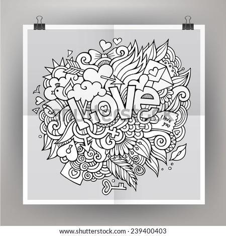 Vector template poster with Love hand lettering and doodles elements - stock vector