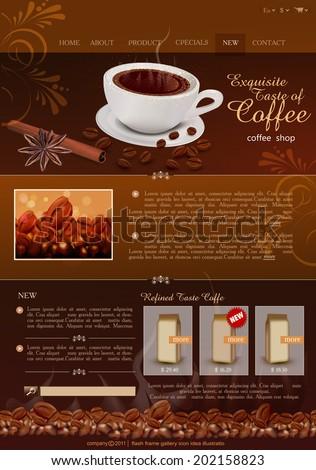 vector template site coffee shop - stock vector