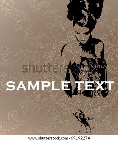 Vector template. The stylish girl on an abstract background - stock vector