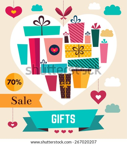 Vector template with holiday gifts - stock vector