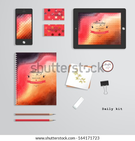 Vector templates. Daily kit. Geometric and watercolor pattern. Tablet computer, phone, business cards, notebook, pencils, eraser, clamp, sticker. Inscription in retro style -Monday it's time to work. - stock vector