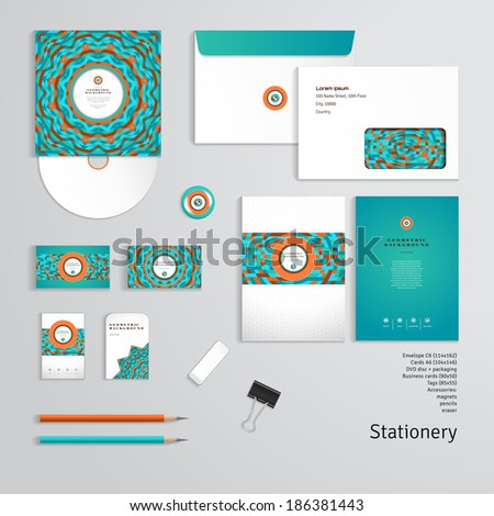 Vector templates. Geometric pattern. Envelope, cards, business cards, tags, disc with packaging, magnet, pencils, eraser, clamp. Dimensions are given. - stock vector