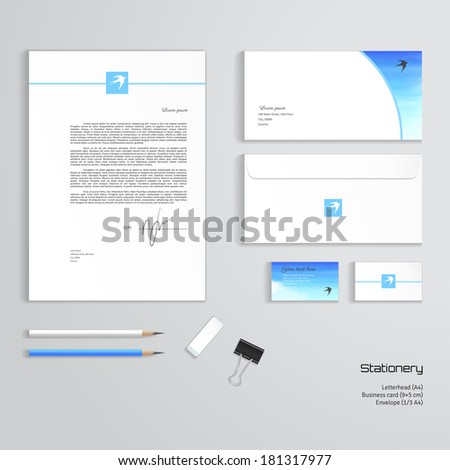 Vector templates. Handmade watercolor. White cloud, sky and swallow. Letterhead, envelope, business card, pencils, eraser, clamp. - stock vector