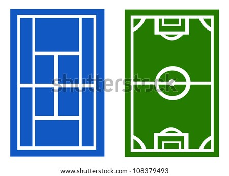 Vector - Tennis and soccer court. - stock vector