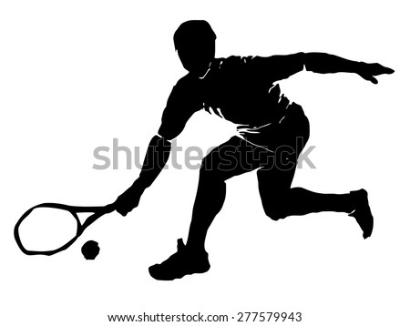 vector tennis player. black silhouette on white background, grunge illustration - stock vector